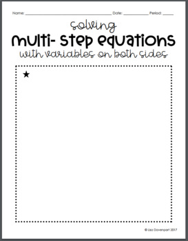 Solving Multi- Step Equations with Variables on Both Sides (Mini Puzzle)