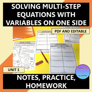 Solving Multi-Step Equations with Variables on One Side Notes Homework U1