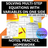 Solving Multi-Step Equations with Variables on One Side No