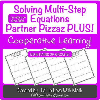 Solving Multi-Step Equations (with Variables on One Side) Partner Pizzaz PLUS!