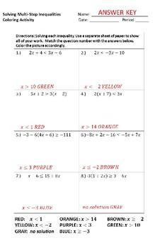 Algebra I Solving Multi-Step Inequalities Coloring Activity