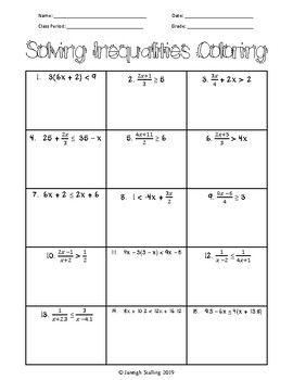 Solving Multi-Step Inequalities Coloring Activity