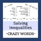 Solving Multi-Step Inequalities - Crazy Words Activity