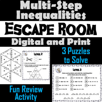 Solving Multi-Step Inequalities Game: Algebra Escape Room Math Activity