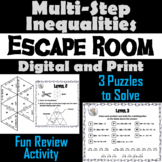 Solving Multi-Step Inequalities Activity: Algebra Escape Room Math Game