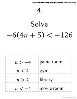 Solving Multi-Step Inequalities Mad Lib Activity