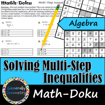 Solving Multi-Step Inequalities Math-Doku; Algebra 1, Sudoku | TpT