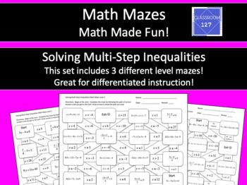Solving Multi-Step Inequalities Math Maze