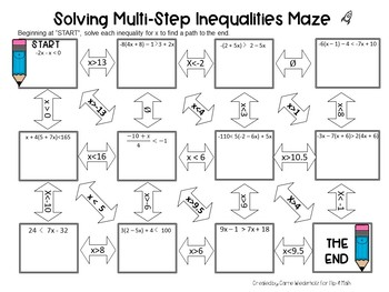 Solving Multi Step Inequalities Maze By Flip 4 Math Tpt