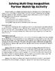 Solving Multi-Step Inequalities Partner Match-Up {Algebra 1]
