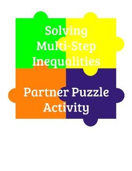 Solving Multi-Step Inequalities - Partner Puzzle Activity