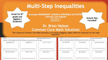 Solving Multi-Step Inequalities (PowerPoint Lesson  & Printables)