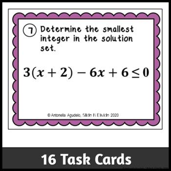 Solving Multi Step Inequalities Task Cards