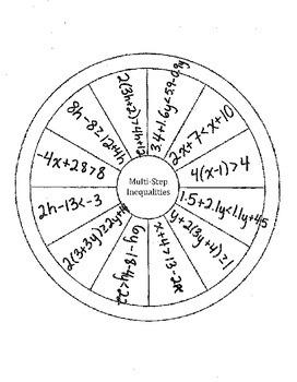 Solving Multi-Step Inequalities Wheel