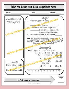 Solving Multi-Step Inequalties Notes Practice Homework PDF and Editable U1