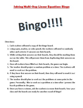 Solving Multi-Step Linear Equations Bingo