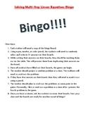 Solving Multi-Step Linear Equations Bingo