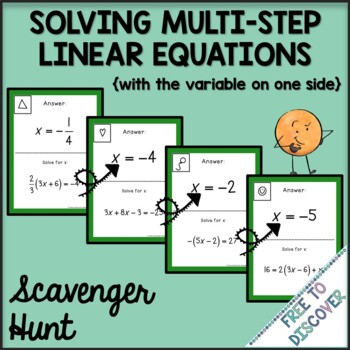 Solving Multi-Step Linear Equations with the Variable on One Side Scavenger Hunt
