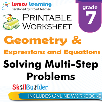 Solving Multi-Step Problems Printable Worksheet, Grade 7