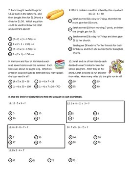 Solving Multi-Step Problems & Using Order of Operations Test