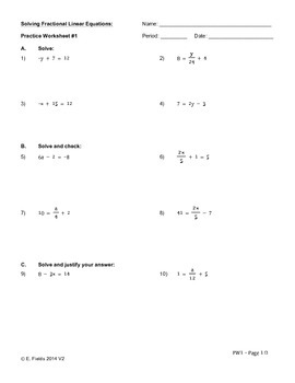 Solving Fractional Single Variable Linear Equations