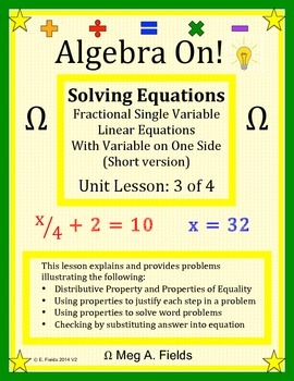 Solving Fractional Single Variable Linear Equations, Short
