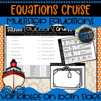 Solving Multi-Step/Variables on Both Sides Equations Cruise Activity