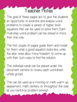 Solving Multi-Step Word Problems Task Cards and Think-Throughs- Common Core