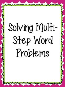 Solving Multi-Step Word Problems Task Cards and Think-Thro