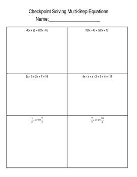 Solving Multi-Step equations Checkpoint