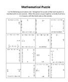 Solving Multi-step Equations Square Puzzle