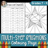 Multi-Step Equations Coloring Worksheet