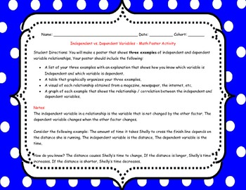 Independent and Dependent Variables Center Activity