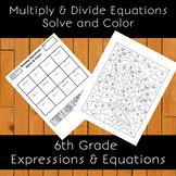 Solving Multiplication & Division One-Step Equations Word Problems Solve & Color
