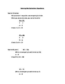 Solving Multiplication Equation