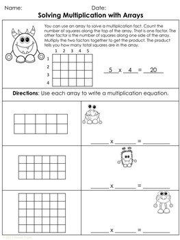 Solving Multiplication Facts Using Arrays - Common Core 3.OA.A.1