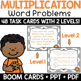 Multiplication Word Problem Task Cards & Math Center + BOOM! Deck (Level 1)