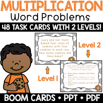 Multiplication Word Problem Task Cards & Math Center + BOOM! Deck (Level 1)