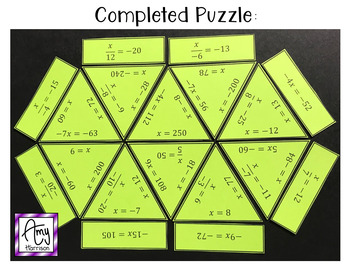 Solving Multiplication and Division Equations Puzzle (with Integers)