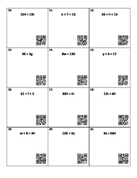 Solving Multiplication and Division Equations with QR Codes