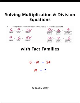 Solving Multiplication and Division Variable Equations with Fact Families
