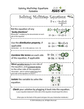 Solving Multistep Equations Foldable