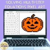 Solving Multi Step Equations Digital Pixel Art Halloween