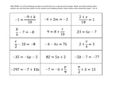 Solving Multi-step Equations Matching Activity (Two-Step Equations)