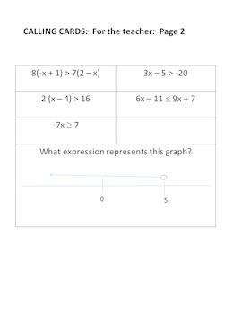 Solving Multistep Inequalities Bingo