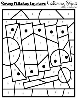 Solving Multistep Linear Equations Coloring Sheet