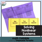 Solving Nonlinear Systems Math Foldable