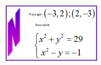 Solving Nonlinear Systems (conics) Scavenger Hunt
