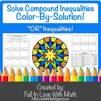 """Solving """"OR"""" Compound Inequalities Color-by-Number!"""