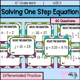 Solving One Step (+/-)  Equation (60 Differentiated Task Cards)